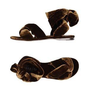 Aspesi brown velvet gladiator wrap sandals 40